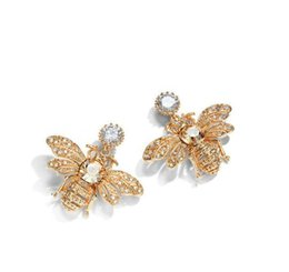 Wholesale Silver 925 Bee - 2018 New Bee With Crystal Stud Earrings Three - dimensional Bee Earrings For Women 925 Silver Needle Earrings