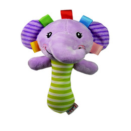 Wholesale Musical Baby Doll - Wholesale- Soft Baby Kid Toy Ring Bell BB Baby Plush Rattle Squeaker Early Educational Doll Rod Cute Cartoon Animal Musical Plush Toy