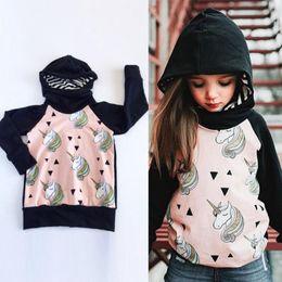 Wholesale Girls Hoodies - Cute Child Kid Girls Long Sleeve Striped Hooded Coat Autumn Unicorn Hoodies Casual Outerwear