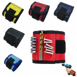 Wholesale Screws Belts - 5 Colors 1680D Magnetic Wristband Wrist Band Tool Belt Cuff Bracelet Nail Screw Parts Arm Holder Storage Organizer AAA265