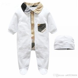 Wholesale Retail Jumpsuits - Retail Spring Baby Romper Long Sleeve Cotton Hooded Romper Baby clothes Solid Jumpsuit For 0-1Years old