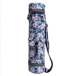 Wholesale Pink Yoga Mat Bag - Wholesale Fashion Pink Leaves Yoga Mat Bag Waterproof Adjustable Sports Bag Fitness Gym Shoulder Bag Women Girls Dance Pilates Pad Bags