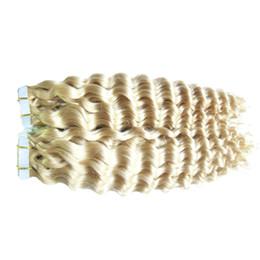 Extensions de cheveux de bande de trame blonde peau pour femme noire Extension de bande de cheveux bouclés vierges 40pcs Kinky Curly bande en extensions de cheveux 100G ? partir de fabricateur