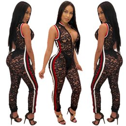 4d9eba4b1b7 Hot Sexy Black Lace See Through Women Party Jumpsuits 2019 Real Photos  Zipper Sleeveless Striped Night Out Pants Rompers Outfits for Club