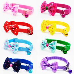 50 Unids / lote Lindas Mascotas Ajustables de Poliéster Collares de Perro Cachorros Para Mascotas con Bowknot y Campanas Collar Collar Para Perros Collares de Gato desde fabricantes