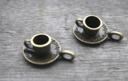 cups bronze Rabatt 10 teile / los - Tasse und Untertasse Charme, Antike Bronze Schöne 3D Kaffeetasse Charme Anhänger 9x18mm