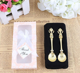 Wholesale Coffee Spoon Favors - Free Shipping 200pcs lot=100sets lot New Vintage Alloy Coffee Spoon Wedding favors and gifts SL7037