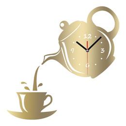 Schwarze teekannen online-MEYA DIY 3D Wanduhr Acryl Kaffeetasse Teekanne Form Dekorative Küche Wanduhren Wohnzimmer Esszimmer Wohnkultur Uhr