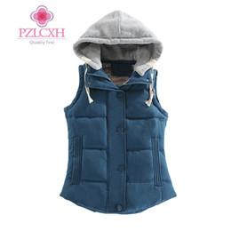Wholesale White Waistcoat Women - PZLCXH 2017 Autumn Winter Cotton Vest Women Sleeveless Hooded Collar Casual Coat Female Jacket Colete Feminino Waistcoat DQ028