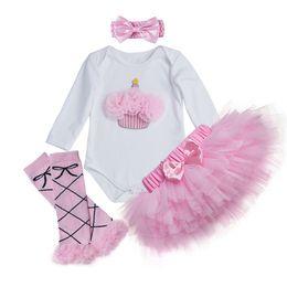 Wholesale Infant Black Tutu Skirt - 2017 Fashion Brand Newborn Baby Girl Clothing Set Printed Cotton bodysuits Pink Lace Skirt 4 pcs Sets Infant Clothes