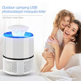 Wholesale fly trap light - Wholesale USB Electric Mosquito Killer Lamp Pest Control Mosquito Killer Fly Trap LED Light Lamp Household Bug Insect Repeller Tools Zapper