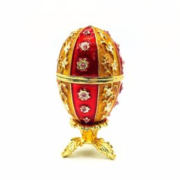 Wholesale Faberge Gifts - Wholesale-QIFU New arrive red faberge egg gift craft trinket box for gift