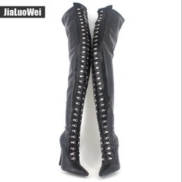 Wholesale Thigh High White Lace Boots - Women Fetish Lace Up Thigh High Boots Flex Black Matt PU Heels Over The Knee Boot Plus size 45,46 colors 12cm Heel