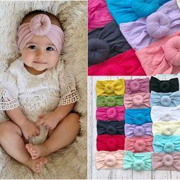 2019 kleine mädchen haarclips großhandel Baby-Mädchen-Knoten-Kugel-Stirnband-Kinder-Haarband Kinder Kopfbedeckung Boutique Haarzusätze 22 Farben Turban C5245