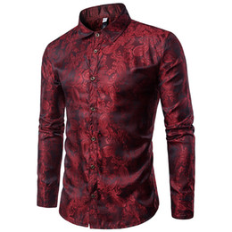 bright collar shirt Promo Codes - Bright Silk Shirts Men 2017 Promotion Autumn Long Sleeve Casual Cotton Flower Shirts for Men Designer Slim Fit Dress