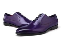 Vestidos azul bronceado online-Venta caliente Marrón / Marrón Tan / Negro / Azul Oxfords Social Shoes Zapatos de vestir para hombres Zapatos de cuero genuinos para empresas