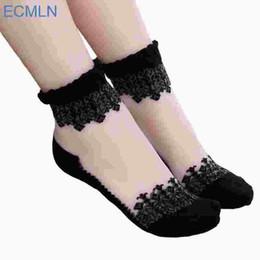 Wholesale Lace Trim Ankle Socks - 1Pair Women Lace Ruffle Ankle Sock Soft Comfy Sheer Silk Cotton Elastic Mesh Knit Frill Trim Transparent Women's socks drop ship