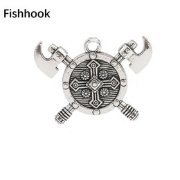 Wholesale medieval men - Fishhook Double Axes Shield Barbarian Viking Cross Medieval Knight Pewter Charms for Men's Necklaces & Bracelets Making