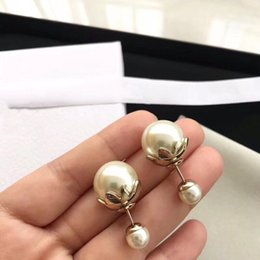 copper pearl earrings Coupons - Popular fashion brand White Pearl Flower earring for lady Design Women Party Wedding Lovers gift Luxury Jewelry for Bride With box