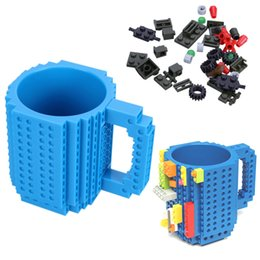 Wholesale Puzzle Steel - 1pcs Build -On Brick Lego Mug Type Building Blocks Frozen Coffee Cup Diy Block Puzzle Lego Mug 12oz 350ml Valentine 'S Day Gif