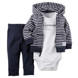 Пальто мальчика онлайн-2018 Infant Baby Boy Winter Coat+Romper+Pants Outfits Toddler Warm Clothes Set 3Pcs Hot