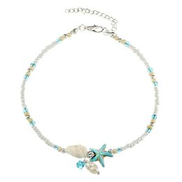 beach charm anklet Promo Codes - Boho Shell Starfish Anklet Sandal Bracelet Foot Chain Bead Anklet Jewelry Beach Charm Anklet Women Girl Gift Support FBA Drop Shipping H268F