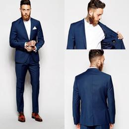 Smokings bleu foncé en Ligne-Tuxedos Groom Groomsmen Costumes Slim Blue Vent Costume Fit Meilleur Homme Costumes De Mariage Costumes Hommes Époux Marié Porter (Veste + Pantalon)