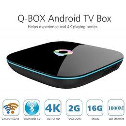 mx tv box quad core Promotion Q Box Amlogic S905X Quad Core Android TV Box 2 Go 16 Go Wifi Bluetooth 4K Smart TV Box