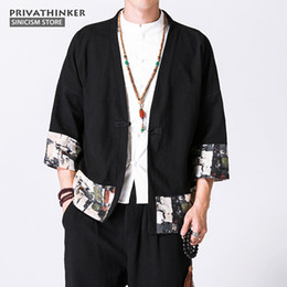 Wholesale Traditional Chinese Shirts Men - Sinicism Store 5XL Cotton Linen Shirts Men Kimono Chinese Traditional Harajuku Pattern Shirts Male Half Sleeve Shirt Cloths