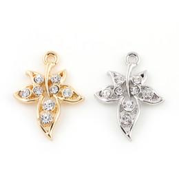 Fascino di foglie d'acero d'oro online-22 * 29mm moda argento oro cristallo foglia d'acero foglia foglie charms pendenti risultati dei monili accessori