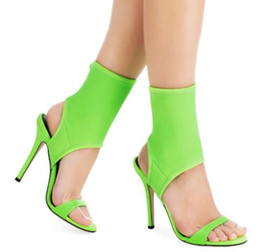 fluoreszierende fersenschuhe Rabatt Sommer Fluorescent Green High Heels Sandalen Rom Stil Stretch Stoff Frauen Pumps Slingback Stiletto Heels Frauen Schuhe