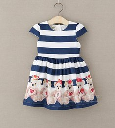 Canada Vente en gros au détail vêtements pour enfants robe enfant en bas âge filles manches courtes motif ourson robe de princesse robe de soirée de dessin animé livraison gratuite Offre