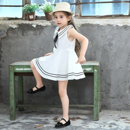 Wholesale Girls Tied Skirt - 2018 New cute Girl Navy Wind Cotton Dress girl's Large Skirt Bow Tie dresses Free Shipping