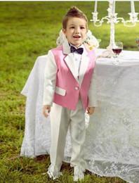 Custom Made Bir Düğme Çentik Beyaz Yaka Kid Komple Tasarımcı Yakışıklı Boy Düğün Suit Boys 'Kıyafet Ismarlama (Ceket + Pantolon + Kravat) nereden