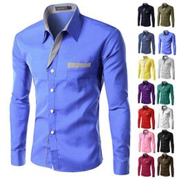 Wholesale asian dress xl - Brand New Mens Formal Business Casual Slim Long Sleeve Dresse Shirts Camisa Masculina Casual Asian Size M-4XL 8012