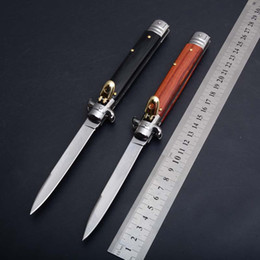 Wholesale Combat Wood - Italy AKC 11 inch 11inch knife single action pocket folding hunting camping gift knife for man EDC tools 1pcs Free shipping