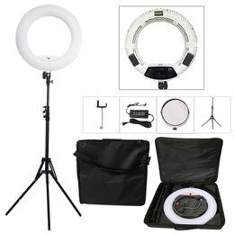 Белый штатив онлайн-Yidoblo White FS-480II 5500K Bio-color Camera Photo/Studio/Phone/Video 18'' 480 LED Ring Light LED Lamp+ 2M tripod +Soft bag Kit