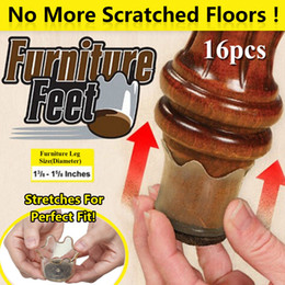 Wholesale furniture padding - 16pcs set Furniture Feet Flexible Floor Protectors Stretchable Furniture Slider Pads desk Legs Cover small Furniture Feet FFA582