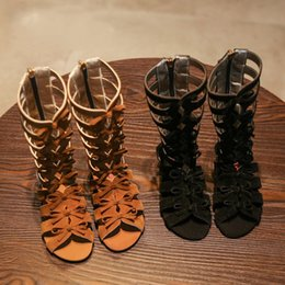 Wholesale Black Roman Gladiator Sandals - Hot Sell Summer Fashion Roman Boots High Top Girls Sandals Kds Gadiator Sandals Toddler Child Sandals Girls High Quality Shoes