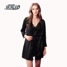 Funishi Brand sexy women s robe   gown sets twinest bathrobe + mini night  dress two pieces sleepwear womens sleep set faux silk f97b49486897