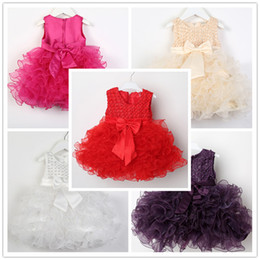 Wholesale Red Ribbon Costumes - Baby Girls sleeveless princess tutu dress 5 colors solid color layered dress for 1-3T party perforamnce costume Flower Girl Dress