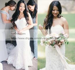 Wholesale Full Tulle Wedding Skirt - 2018 Chic Boho Sweetheart Neck Wedding Dresses Full Lace White Sweep Train Zipper Back Garden Bridal Gown Custom Made