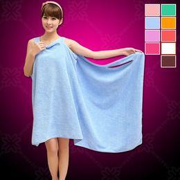 Wholesale Towel Robes - Magic Bath Towels Lady Girls SPA Shower Towel Body Wrap Bath Robe Bathrobe Beach Dress Wearable Magic Towel 9 colors
