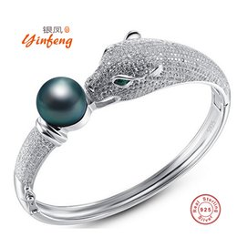 Wholesale Jewelry Box For Pearls - [MeiBaPJ] Real 925 silver AAAA high quality charm tiger bracelet for women 4 colors Rearl Natural Pearl Bangle Jewelry Gift Box