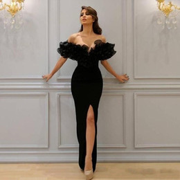 Wholesale vintage boat lights - 2018 Sexy Mermaid Evening Dresses Boat Off-Shoulder with Lace Appliques Sleeve Cascading Ruffles Sheer Evening Gowns Party Dresses