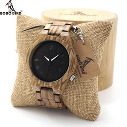 Wholesale Custom Logo Watches - BOBO BIRD Mens Watch Zebra Wood Quartz Watch with Luminous Hands Full Wood Band in Gift Box custom logo saat erkek relojes