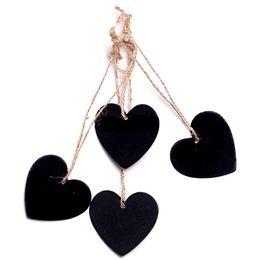 Wholesale craft wedding supplies - Mini Hanging Chalkboard Memo Tags Heart Round Shape Board Message Blackboard Wooden Hanging Decoration DIY Wood Crafts