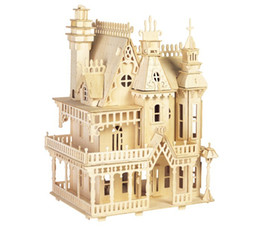 bambus-puzzle Rabatt Victorian Dollhouse Spielzeug Fantasy Villa 3D Puzzle DIY Modelle und Gebäude für Erwachsene Fabrik Preis Großhandel Bestellung