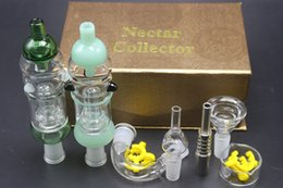 Wholesale Golden Dishes - Factory Price 14mm Golden Nectar Collector Plus Full Kit Birdcage Diffuser Perc Glass Bongs With Titanium Glass Nail Bowls Dish Adaptor