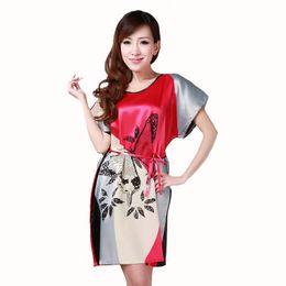 20c8636430 Brand New Chinese Women Robe Satin Nightgown Sexy Nightshirt Sleepwear  Print Bath Gown Summer Casual Home Night Dress One Size S1015